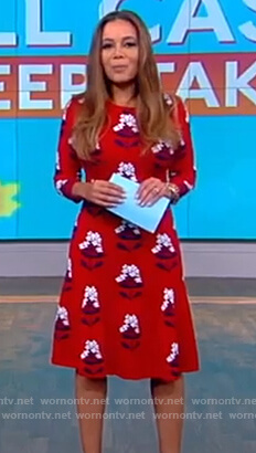 Sunny's red floral a-line dress on The View
