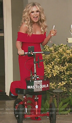 Tamra's red folded off shoulder jumpsuit on The Real Housewives of Orange County