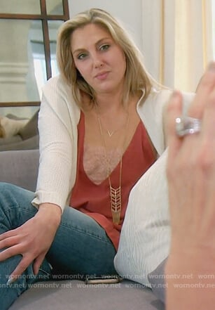 Gina's red lace inset cami on The Real Housewives of Orange County