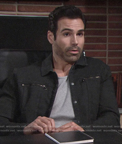 Rey's black jacket with zip pockets on The Young and the Restless