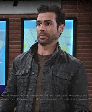 Rey's black trucker jacket on The Young and the Restless