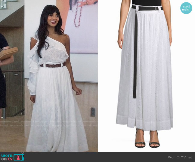 Robert Rodriguez Belted Eyelet Maxi Skirt worn by Jameela Jamil on The Good Place