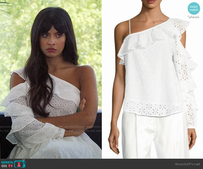 Robert Rodriguez Eyelet Ruffle Blouse worn by Jameela Jamil on The Good Place