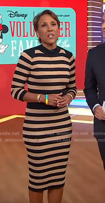 Robin's beige striped ribbed dress on Good Morning America
