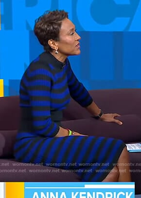 Robin's blue and black striped ribbed dress on Good Morning America