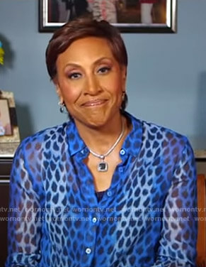Robin's blue printed sheer blouse on Good Morning America