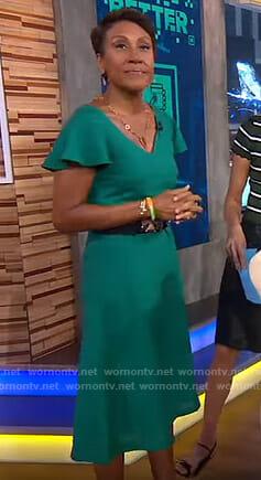 Robin's green flutter sleeve dress on Good Morning America