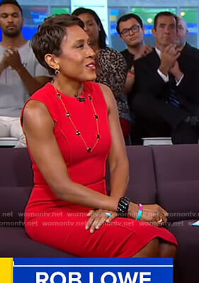 Robin's red sleeveless sheath dress on Good Morning America
