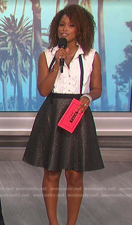 Eve's two-tone tie neck dress on The Talk