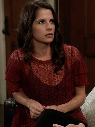 Sam's red lace top on General Hospital