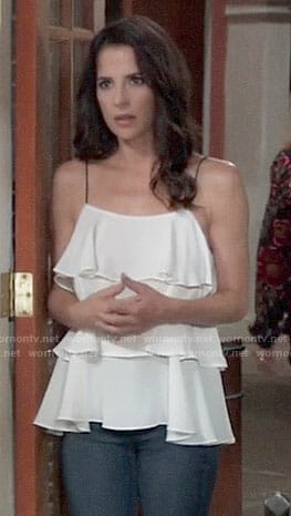 Sam's white ruffled cami top on General Hospital