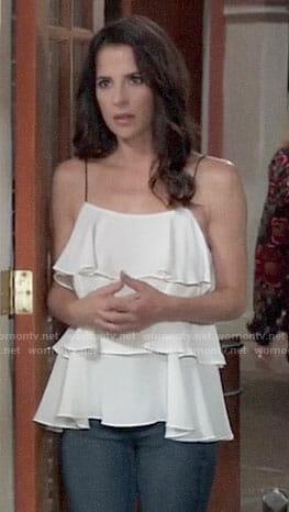 Sam's white ruffled cami top on General Hospital