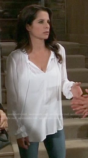 Sam's white tie-neck top on General Hospital