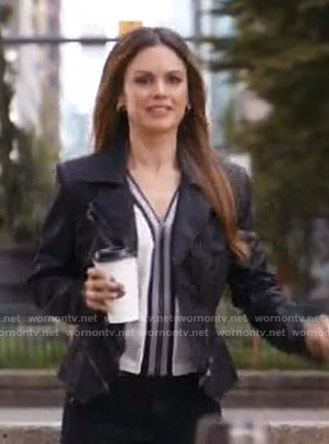 Sam's white zip front blouse and black jacket on Take Two