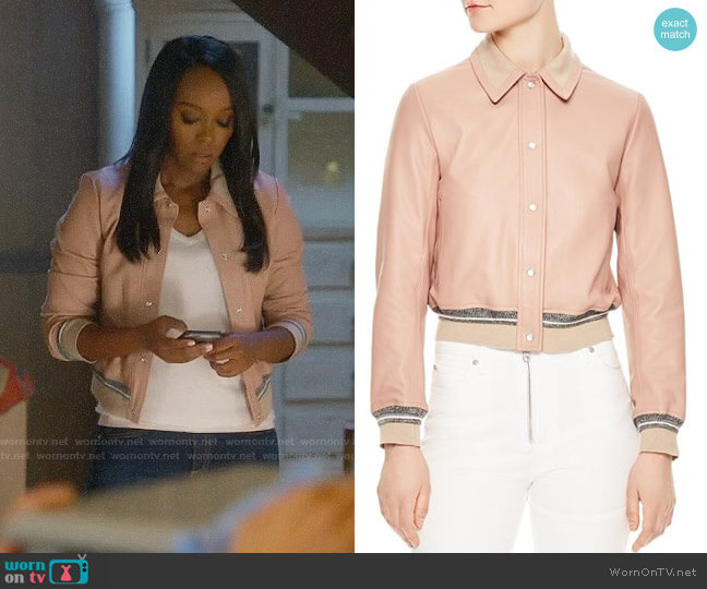 Sandro Biopic Collared Bomber Jacket worn by Aja Naomi King on HTGAWM