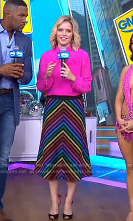 Sara's pink blouse and metallic striped skirt on GMA Day