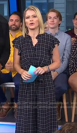 Sara's black plaid jumpsuit on GMA Day