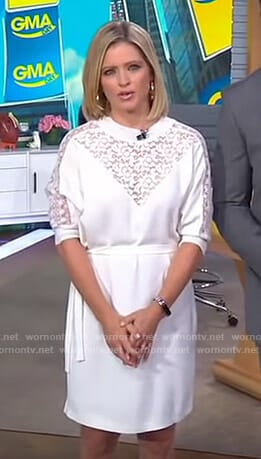 Sara's white lace inset dress on GMA Day