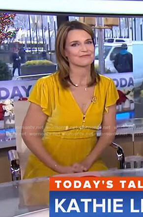 Savannah's yellow velvet dress on Today