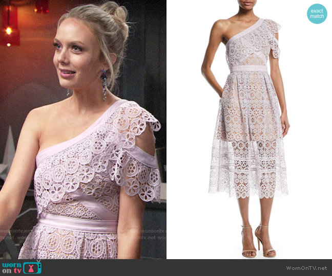 Self Portrait One-Shoulder Floral Lace Midi Dress worn by Melissa Ordway on The Young & the Restless