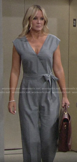 Sharon's grey wrap jumpsuit on The Young and the Restless