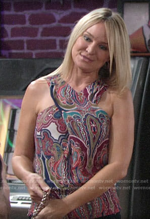Sharon's paisley cross-neck top on The Young and the Restless