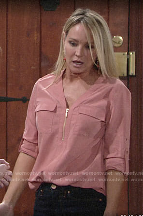 Sharon's pink zip up blouse on The Young and the Restless