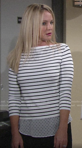 Sharon's stripe and polka dot layered top on The Young and the Restless