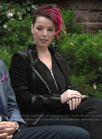 Sinead's black leather trim jacket and tassel earrings on The Young and the Restless