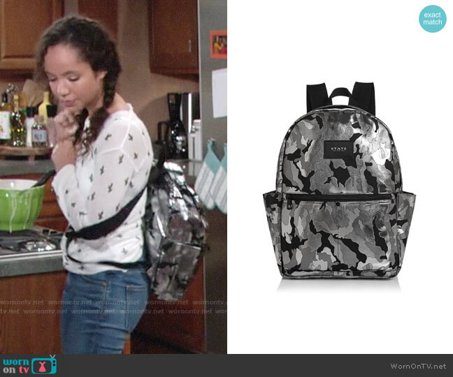 STATE Williams Medium Metallic Camo Backpack worn by Lexie Stevenson on The Young & the Restless