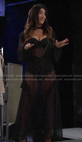 Steffy's black lace bodysuit and robe on The Bold and the Beautiful