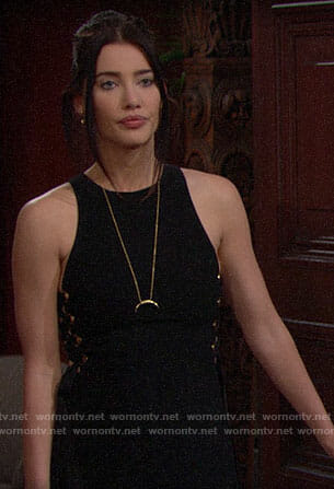 Steffy's black jumpsuit with lace-up sides on The Bold and the Beautiful
