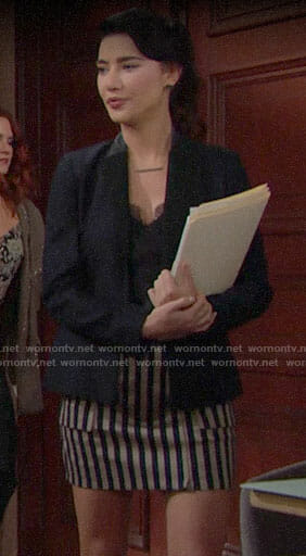 Steffy's striped mini skirt on The Bold and the Beautiful