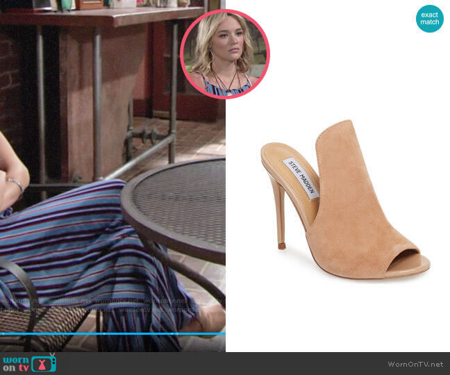 Steve Madden Sinful Sandal worn by Hunter King on The Young & the Restless