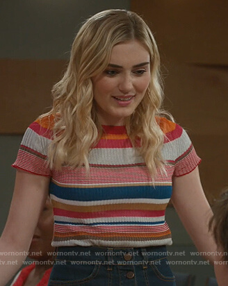 Taylor's striped ribbed top on American Housewife
