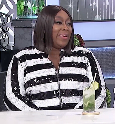 Loni's black and white striped sequin jacket on The Real