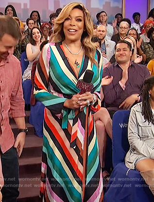 Wendy's striped wrap dress on The Wendy Williams Show