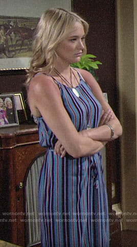 Summer's blue striped jumpsuit on The Young and the Restless