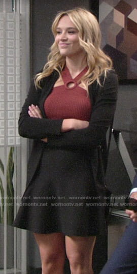 Summer's red ring neck top and black skirt and blazer on The Young and the Restless