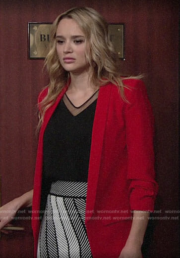 Summer's red blazer and patterned skirt on The Young and the Restless