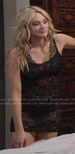 Summer's black lace lingerie on The Young and the Restless