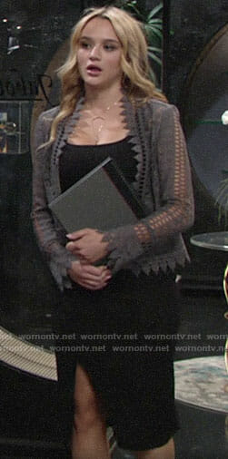 Summer's grey lace jacket on The Young and the Restless