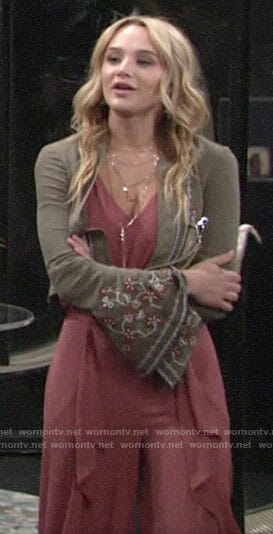 Summer's cropped embroidered jacket on The Young and the Restless
