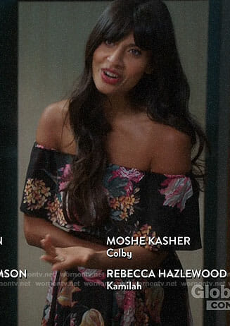 Tahani's black floral off-shoulder dress on The Good Place