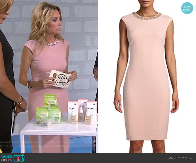 Beaded-Neck Sheath Dress by Tahari ASL worn by Kathie Lee Gifford on Today