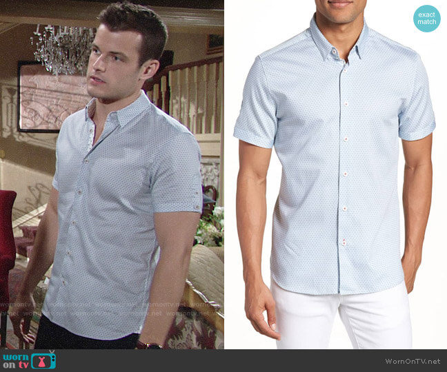Ted Baker Gudvu Geo Print Sport Shirt worn by Michael Mealor on The Young & the Restless