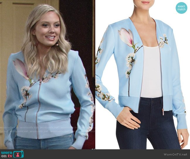 Ted Baker Jayniee Harmony Bomber Jacket worn by Abby Newman (Melissa Ordway) on The Young & the Restless