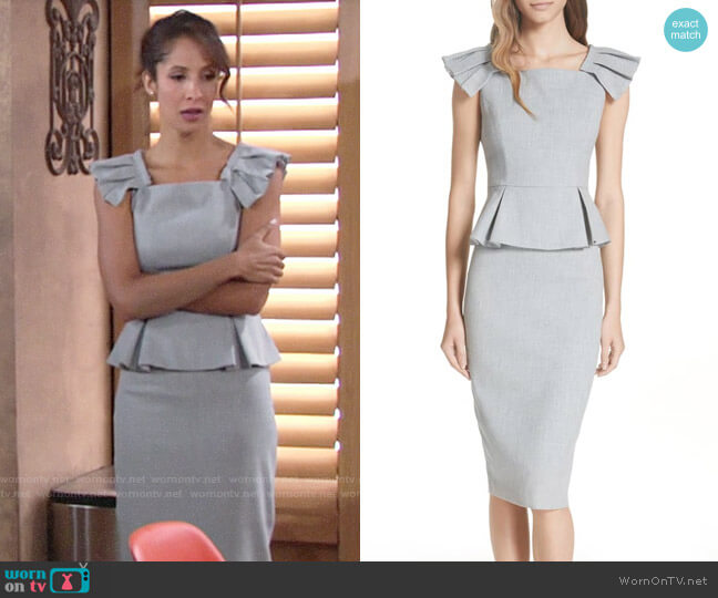 Ted Baker Daizid Pleat Shoulder Peplum Dress worn by Christel Khalil on The Young & the Restless