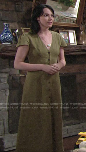 Tessa's green button-front maxi dress on The Young and the Restless