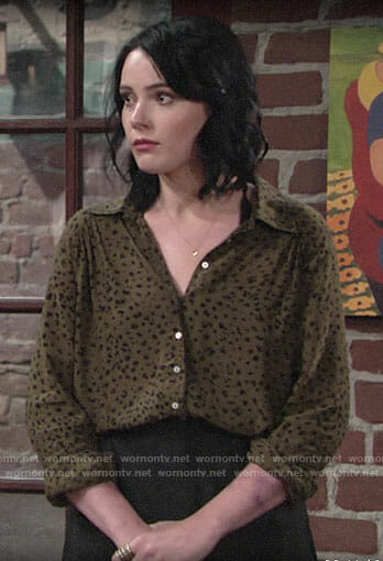 Tessa's green leopard print shirt on The Young and the Restless